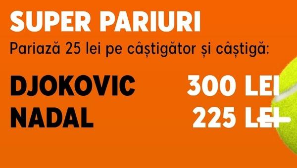 Cote speciale pentru finala Roland Garros: Djokovic - Nadal