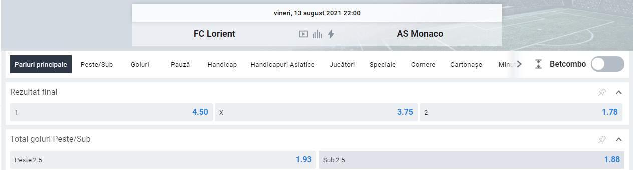 Ponturi pariuri Lorient vs AS Monaco