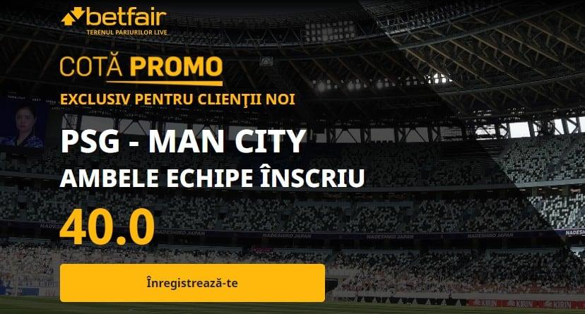 Cota 40.00 la PSG vs Manchester City